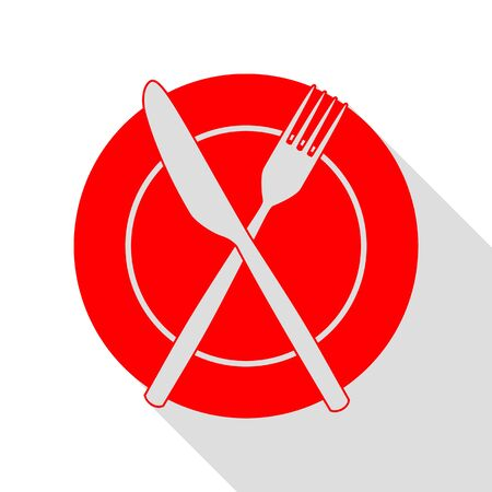 Fork, tape and Knife sign. Red icon with flat style shadow path. Illustration