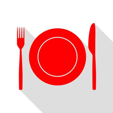 fork in path: Fork, tape and Knife sign. Red icon with flat style shadow path. Illustration