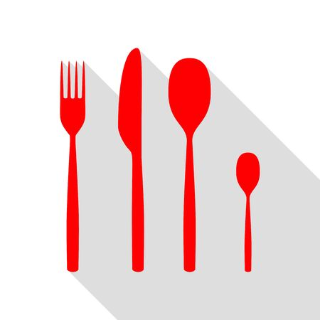 Fork spoon and knife sign. Red icon with flat style shadow path. Illustration