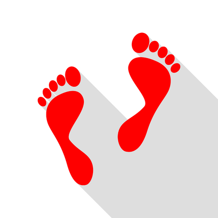Foot prints sign. Red icon with flat style shadow path. Illustration