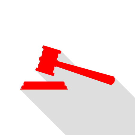 Justice hammer sign. Red icon with flat style shadow path. Illustration