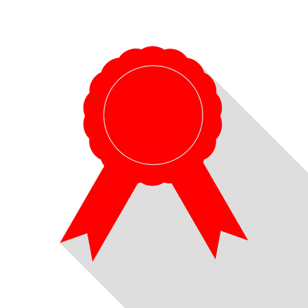 Label sign ribbons. Red icon with flat style shadow path. Illustration
