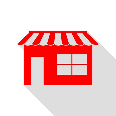 Store sign illustration. Red icon with flat style shadow path.