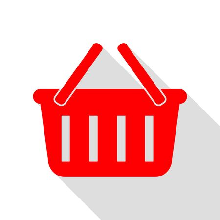 gripping: Shopping basket sign. Red icon with flat style shadow path.