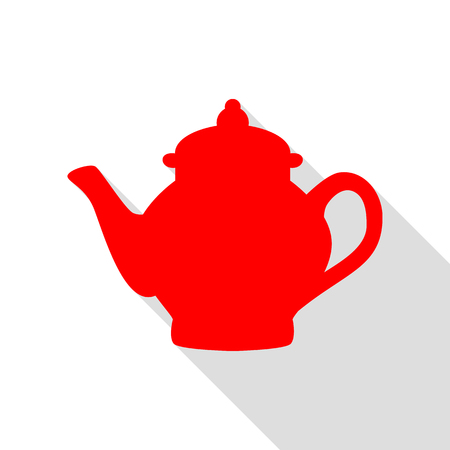 Tea maker sign. Red icon with flat style shadow path.