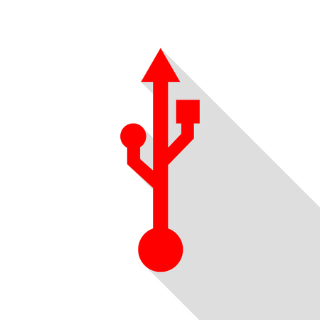 USB sign illustration. Red icon with flat style shadow path.