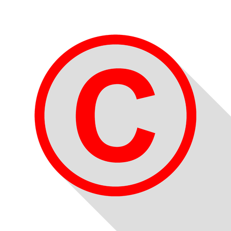 Copyright sign illustration. Red icon with flat style shadow path.