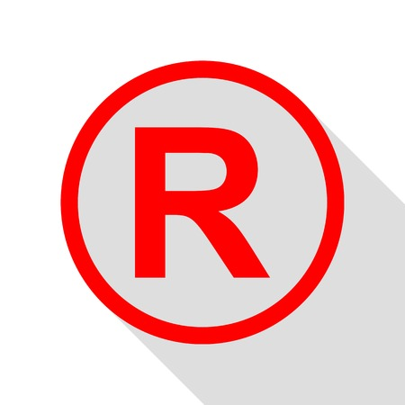 Registered Trademark sign. Red icon with flat style shadow path. Illustration