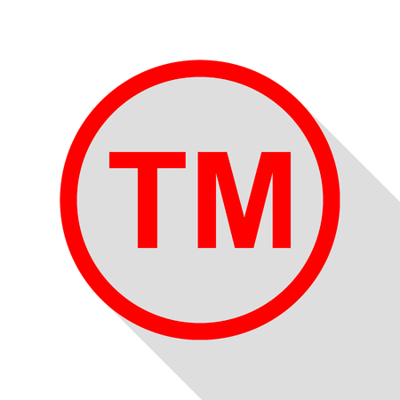 Trade mark sign. Red icon with flat style shadow path.