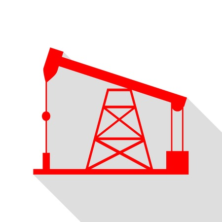 Oil drilling rig sign. Red icon with flat style shadow path. Illustration