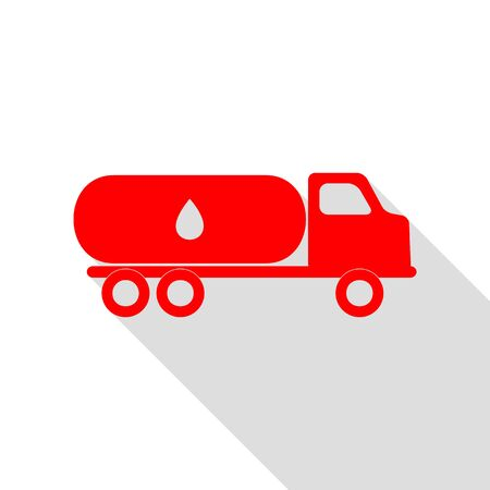 Car transports Oil sign. Red icon with flat style shadow path. Illustration