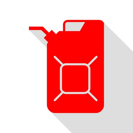 Jerrycan oil sign. Jerry can oil sign. Red icon with flat style shadow path. Illustration