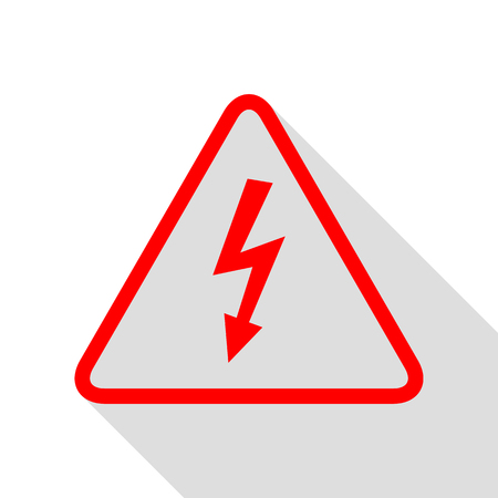 High voltage danger sign. Red icon with flat style shadow path.