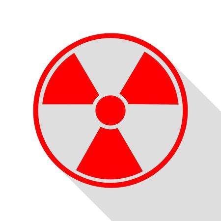 Radiation Round sign. Red icon with flat style shadow path. Illustration