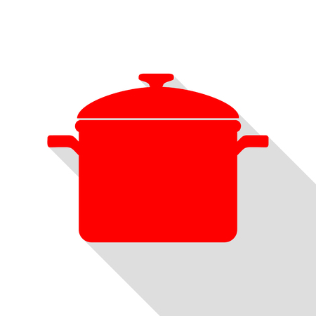 Cooking pan sign. Red icon with flat style shadow path.