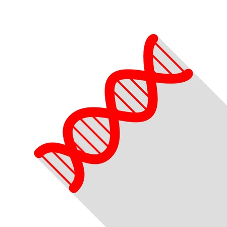 heredity: The DNA sign. Red icon with flat style shadow path.