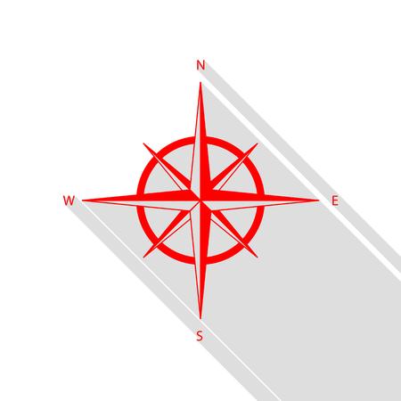 rosa vientos: El viento se levantó signo. icono rojo con el camino de sombra estilo plano.