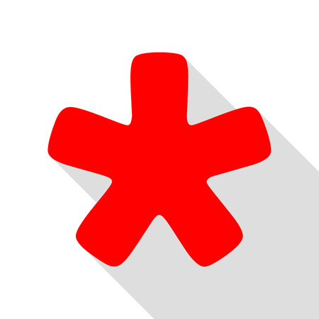 Asterisk star sign. Red icon with flat style shadow path.