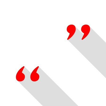 Quote sign illustration. Red icon with flat style shadow path.