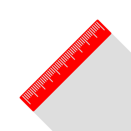 Centimeter ruler sign. Red icon with flat style shadow path. Illustration