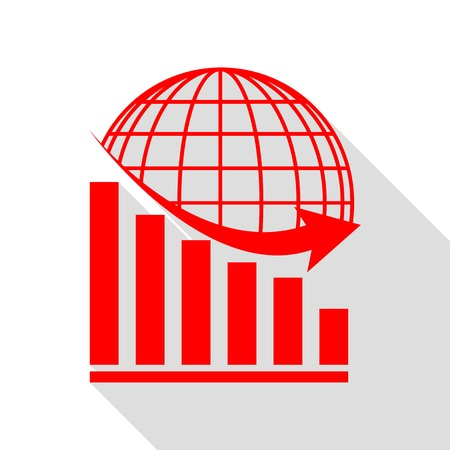 declining: Declining graph with earth. Red icon with flat style shadow path.
