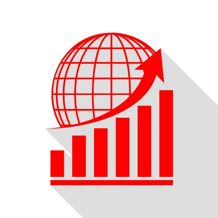 Growing graph with earth. Red icon with flat style shadow path.