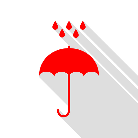 Umbrella with water drops. Rain protection symbol. Flat design style. Red icon with flat style shadow path. Illustration