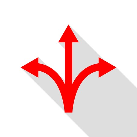 Three-way direction arrow sign. Red icon with flat style shadow path. Illustration