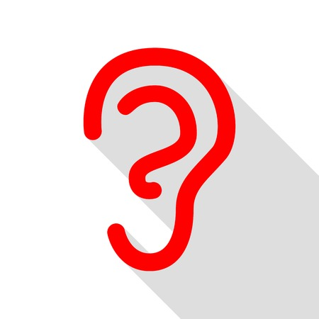 audible: Human ear sign. Red icon with flat style shadow path. Illustration