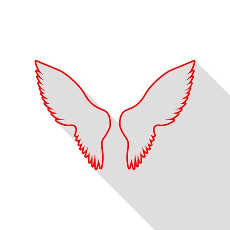 Wings sign illustration. Red icon with flat style shadow path. Illustration