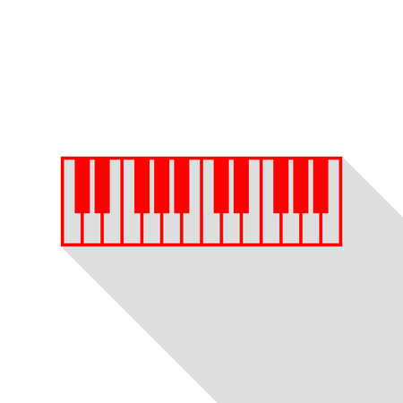 Piano Keyboard sign. Red icon with flat style shadow path. Illustration