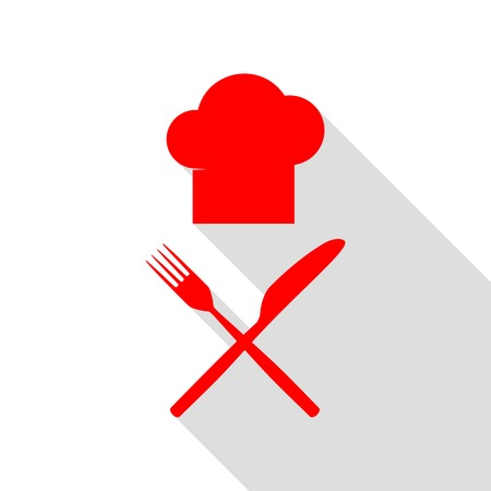 fork in path: Chef with knife and fork sign. Red icon with flat style shadow path. Illustration