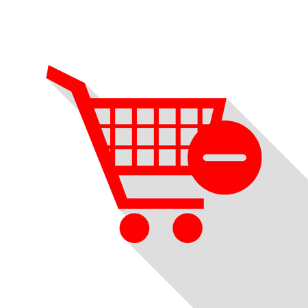 Vector Shopping Cart with Remove sign. Red icon with flat style shadow path.