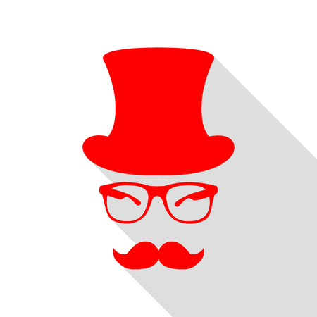 Hipster accessories design. Red icon with flat style shadow path. Illustration