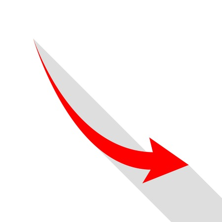 Declining arrow sign. Red icon with flat style shadow path.