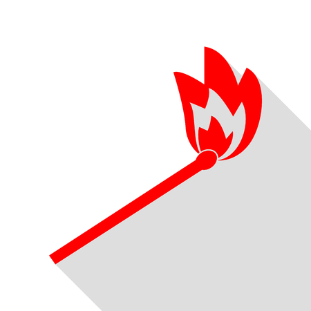 Match sign illustration. Red icon with flat style shadow path. Illustration