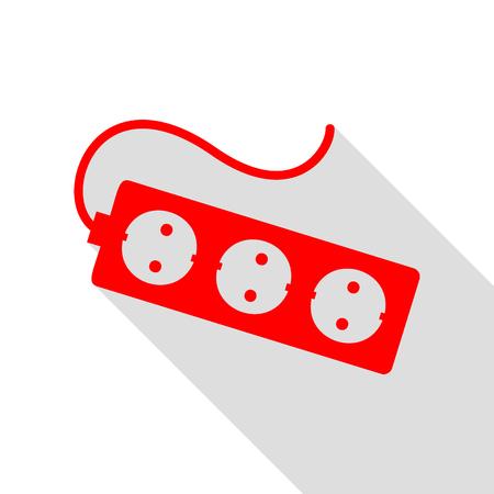 Électrique signe connecteur d'extension. Icône rouge avec le chemin d'ombre de style plat.