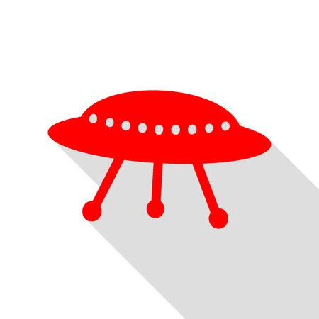 area 51: UFO simple sign. Red icon with flat style shadow path. Illustration