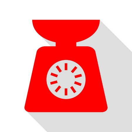 Kitchen scales sign. Red icon with flat style shadow path.