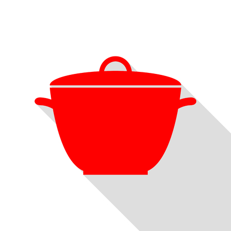 Saucepan simple sign. Red icon with flat style shadow path. Illustration