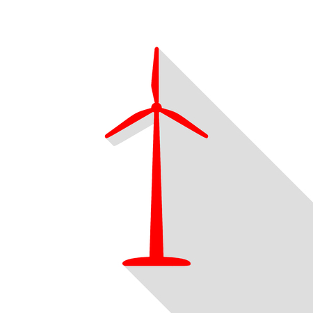 Wind turbine logo or sign. Red icon with flat style shadow path. Illustration