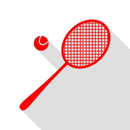 Tennis racquet sign. Red icon with flat style shadow path.