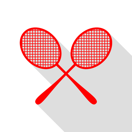 Tennis racquets sign. Red icon with flat style shadow path. Illustration