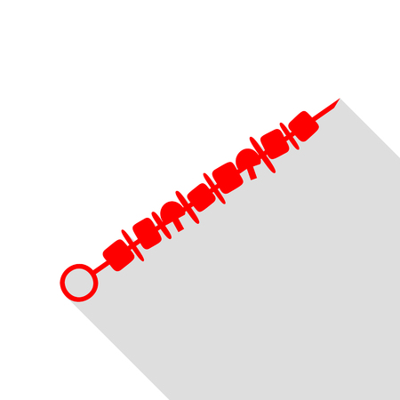 shish kebab: Shish kebab on skewers sign. Red icon with flat style shadow path.