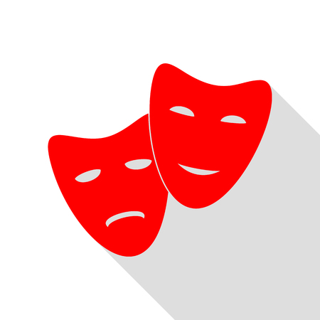 Theater icon with happy and sad masks. Red icon with flat style shadow path.