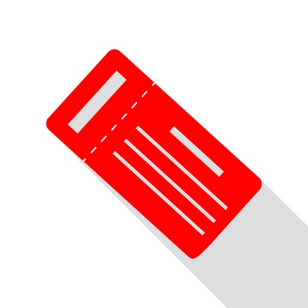 Ticket simple sign. Red icon with flat style shadow path.