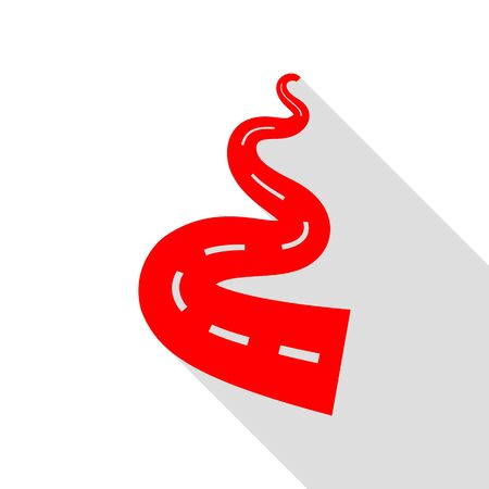 Road simple sign. Red icon with flat style shadow path. Illustration