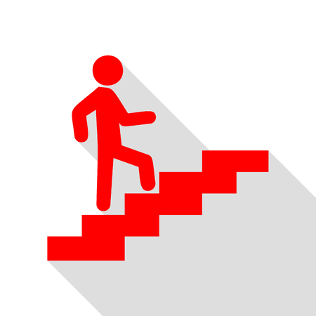 Man dans les escaliers à monter. Icône rouge avec le chemin d'ombre de style plat.