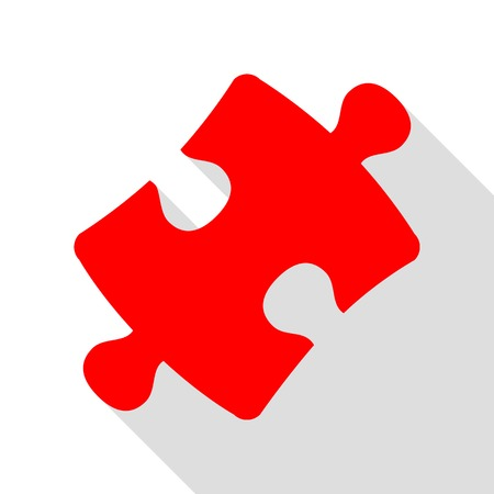 Puzzle piece sign. Red icon with flat style shadow path. Illustration