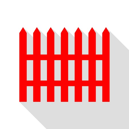 dissociation: Fence simple sign. Red icon with flat style shadow path. Illustration